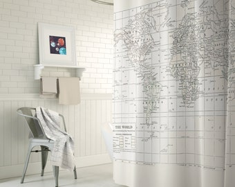 Cream on White World Map Shower Curtain - Historical map travel decor, minimalist, fabric,