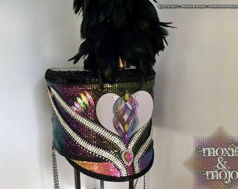 Mardi Gras Headpiece, Rave Costume, Festival accessory, Burning Man Hat, Marching Band Hat, Women's Costume Headpiece,