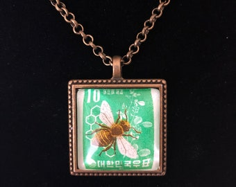 Honey Bee Postage Stamp Necklace | Vintage Stamp | Postage Stamp Jewelry | Korea | Korea Gift |
