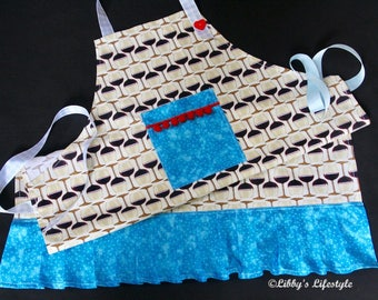 Wine Lovers Women's apron - Handmade apron - Cooking apron - Vintage style apron - Retro style apron - Full kitchen apron - Baking apron.