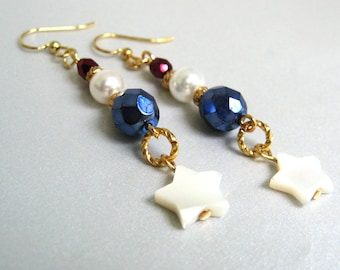 Stars and Stripes Earrings, Patriotic Red White and Blue Earrings, Fourth of July Summer Jewelry, Independence Day, Dangling Star Earrings