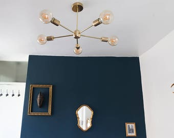 READY TO SHIP / Lohtse / Brass / Industrial / mid century / Sputnik / Pendant light / Handmade