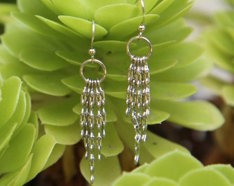 Kidney Chain Earrings -  5-strand silver-plated