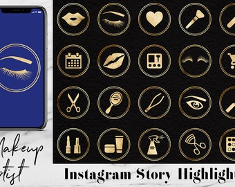 Instagram Story Highlights Icons Pack For Makeup Artist, Gold Instagram Content Icons, Gold Instagram Story Template, Coupon Code: BUY5FOR8