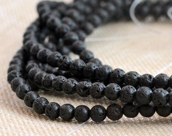 "6mm Round Black Lava Beads, Volcanic Lava Beads, Black Beads, Textured Lava Beads, Oil Diffuser Beads, 6mm Beads, 15.5"", 63 Beads, MAN-0810C"