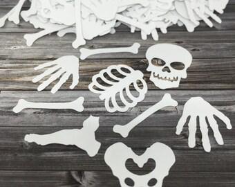 Halloween Confetti / Skeleton Confetti - skull, rib cage, hands, etc.
