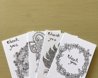 A Pack Of 8 Hand Drawn Mini Thank You Cards/Notelets A7 with 4 Designs