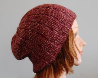 Natural RIAF Soft Warm Hand Crafted Alpaca Slouchy Beanie Hat, Magenta and Pink