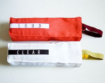 Linen Wine Bottle Tote Bag, Set of 2 in Red and White