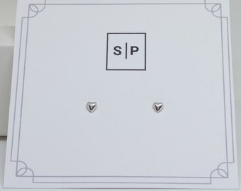 Tiny Heart Stud Sterling Silver Earrings, Basic Minimal Earrings, Unisex Studs, Tiny Jewelry , 3mm Studs, Geometric , 3D Shaped Earrings