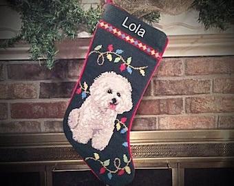 Bichon Dog Stocking, Personalized Christmas Stocking, Christmas stocking, Dog stocking,  Bichon needlepoint Christmas stockings, Bichon
