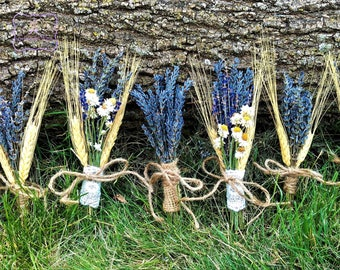 Lavender Harvest Boutonniere or Corsage. Lavender and Wheat Wedding Party, Groomsmen, Groom. Matches Lavender Harvest Bouquets