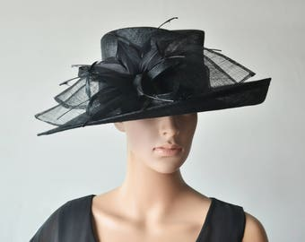 Black hat large dress church sinamay hat fascinator with feather flower,for Kentucky derby,wedding party races church