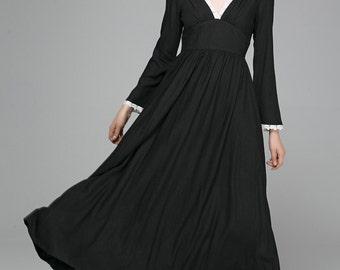 boho maxi dress, linen dress, womens dresses, party dress, v neck dress, long maxi dress, prom dress, modern clothing, black dress 1396