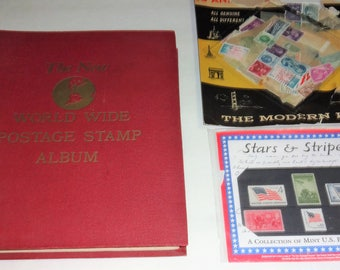 1960 Minkus The New World Wide Postage Stamp album + Extra Stamps Nice Starter Album