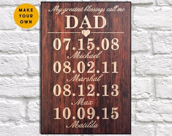 Fathers day gift from son Custom Wood sign Personalised gift for Fathers day gift from Daughter gift for Dad gift Panel effect Wood decor