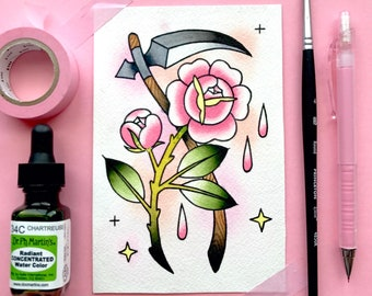 Scythe and Roses Horror Creepy Tattoo Flash Watercolor PRINT by Michelle Kent