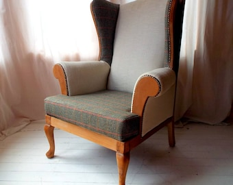 Fully Reupholstered Birch and Alpe Wingback Armchair in Tweed