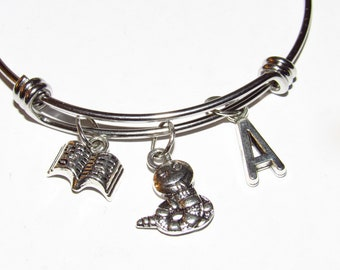 Book Worm Bracelet _ Personalized Book Worm Bracelet _ Book Worm, Love To Read, Reader, Student, Teacher, Librarian _ Expandable Bangle