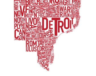 """Detroit Typography Map Poster  """"Red Wings"""" Red"""