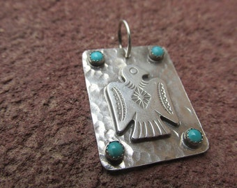 Thunderbird Turquoise Southwestern Sterling Silver Pendant Charm Cowgirl Western Necklace