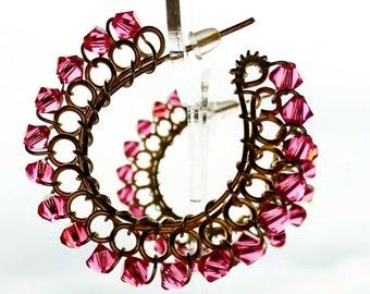 Watermelon Pink Swarovski Crystal  Hoop Earrings