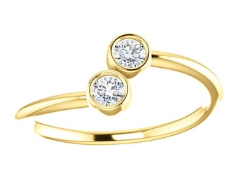White Sapphire 14K Gold, Stacking Ring, Made to Order, Dual Stone, Rose and White gold also available