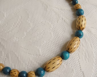 Wood and Turquoise Fossil Bead Necklace