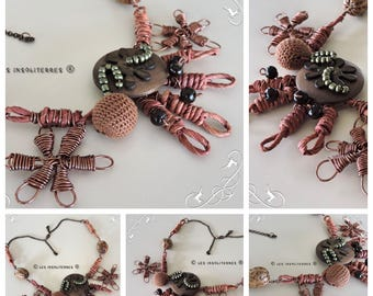 Necklace wood seeds natural aluminum wire copper Brown wood beads