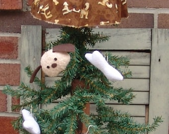 Primitive Dog doll Tree topper with ornaments Sewing pattern, Dog Lover, HFTH187