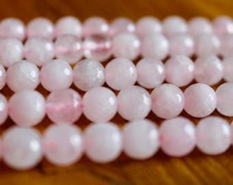 8mm faceted Rose Quartz beads, half strand, natural stone beads, round, 80073