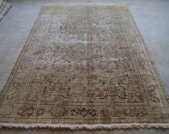 6'11''x10'6'' Large Area Rug, Turkish Distressed Rug, Faded Patterns, Anatolian Symbols, Oushak Rug