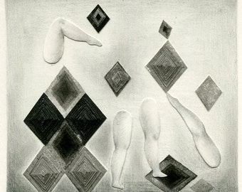 Original mixed media drawing - The legs and the rhombuses