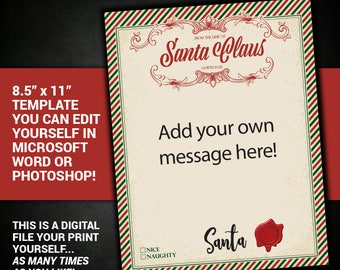 letter from santa claus, editable, Santa Letter, Santa, Letter, Printable, Christmas, DIY, antique, printable, instant download, template