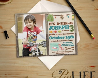 Fishing with Worms Photo Birthday Invitation Printable DIY No. I228
