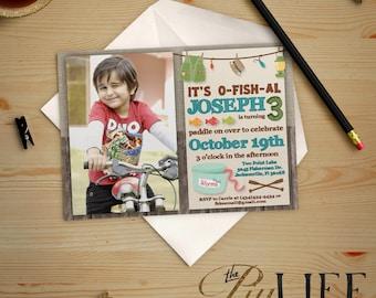 Pêche avec vers Photo anniversaire Invitation imprimable bricolage no. I228