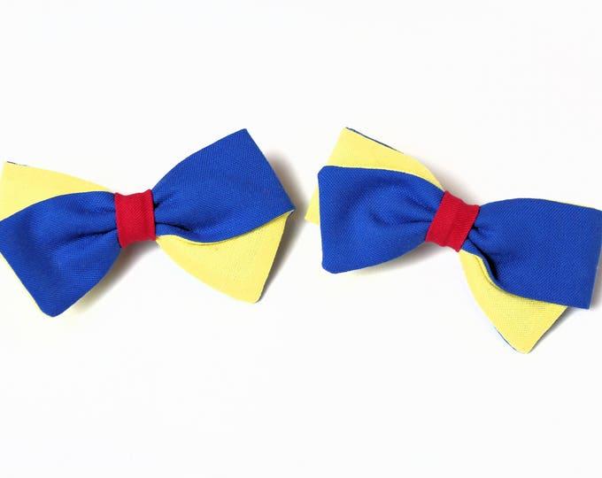 Disney Hair Bows - 2 Pigtail Bows - Snow White Bow - Fabric Bows