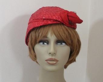 Vintage Red Straw Asymmetrical Profile Hat