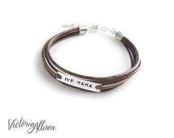 IVF Mama Bracelet, Infertility Jewelry, Light Brown Leather Wrap Style Bracelet, IVF Jewelry, Faux Wrap Bracelet, Sterling Silver