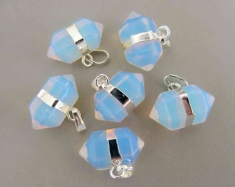 Polished  Opalite Double Terminated Point Pendant With Silver Bail - B924