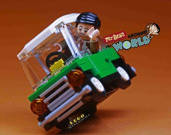 LEGO MOC Minicooper Mr.Bean Teddy Bear Travel Minifigures Custom Cooper