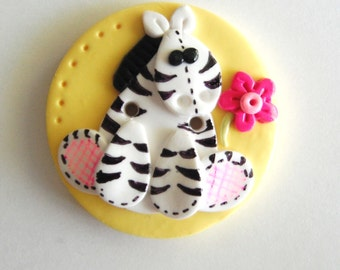Button NEW Biggy Button Zebra Toy handmade polymer clay button ( 1 )