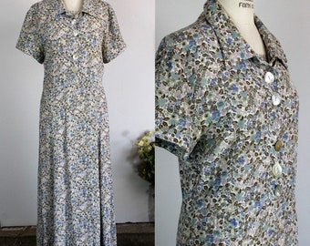 Vintage 1980s Does 1940s Floral Print Dress / Broomskirts by Lucia Lukken Dress / Blue Floral Print Shirtwaist / Rayon 80s Dress