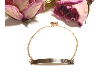Gold Bar Bracelet / Custom Name Personalized Bracelet / Nameplate Bridesmaid Gift / Custom Initial / Hand Stamped Roman Numerals Bracelet /1