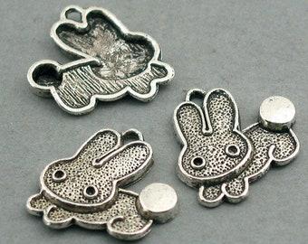 10 Rabbit Charms, Bunny pendant beads, Antique Silver 19X19mm CM0270S