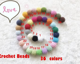 a lot of 50pcs baby teether Crochet beads  16mm (0.62 inch) wooden round crocheted bead