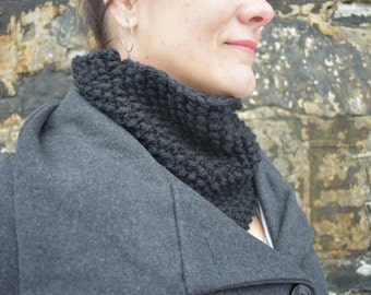 Black Knit Cowl, Knit Scarf, Winter Cowl, Cold Weather Accessory, Black Textured Cowl