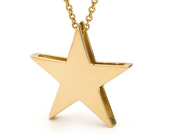 Star Necklace, 9k or 14k Yellow gold STAR pendant with optional yellow gold cable chain