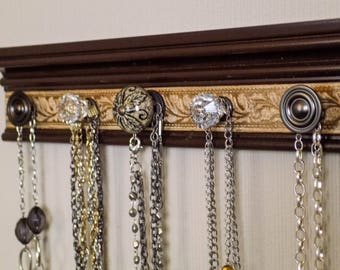READY TO SHIP Brown wall jewelry holder w/ embossed background closet organization 5 knobs on jewelry storage necklace organizer. gift