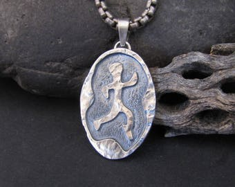 Vintage Neanderthon Sterling Silver Ancient Rock Art Runners Pendant